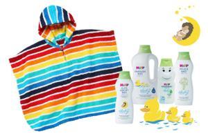 Reinster Badespaß: HiPP Babysanft Badezusätze und JAKO-O Poncho