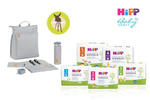 HiPP Babysanft Extra Weiche Windeln & LÄSSIG Wickeltasche